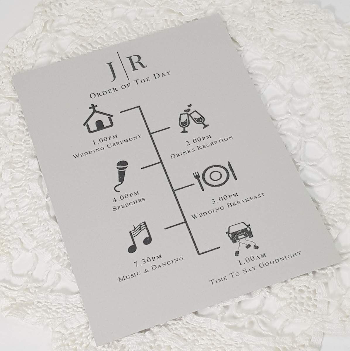 wedding order of the day modern style on grey recycled card