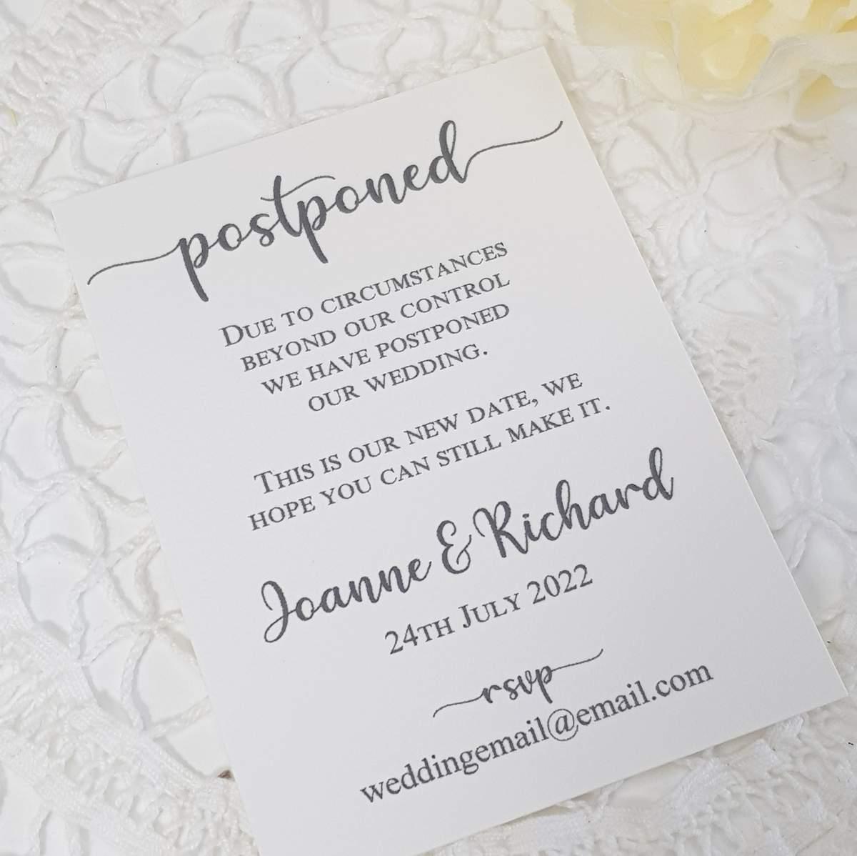 wedding postponed card