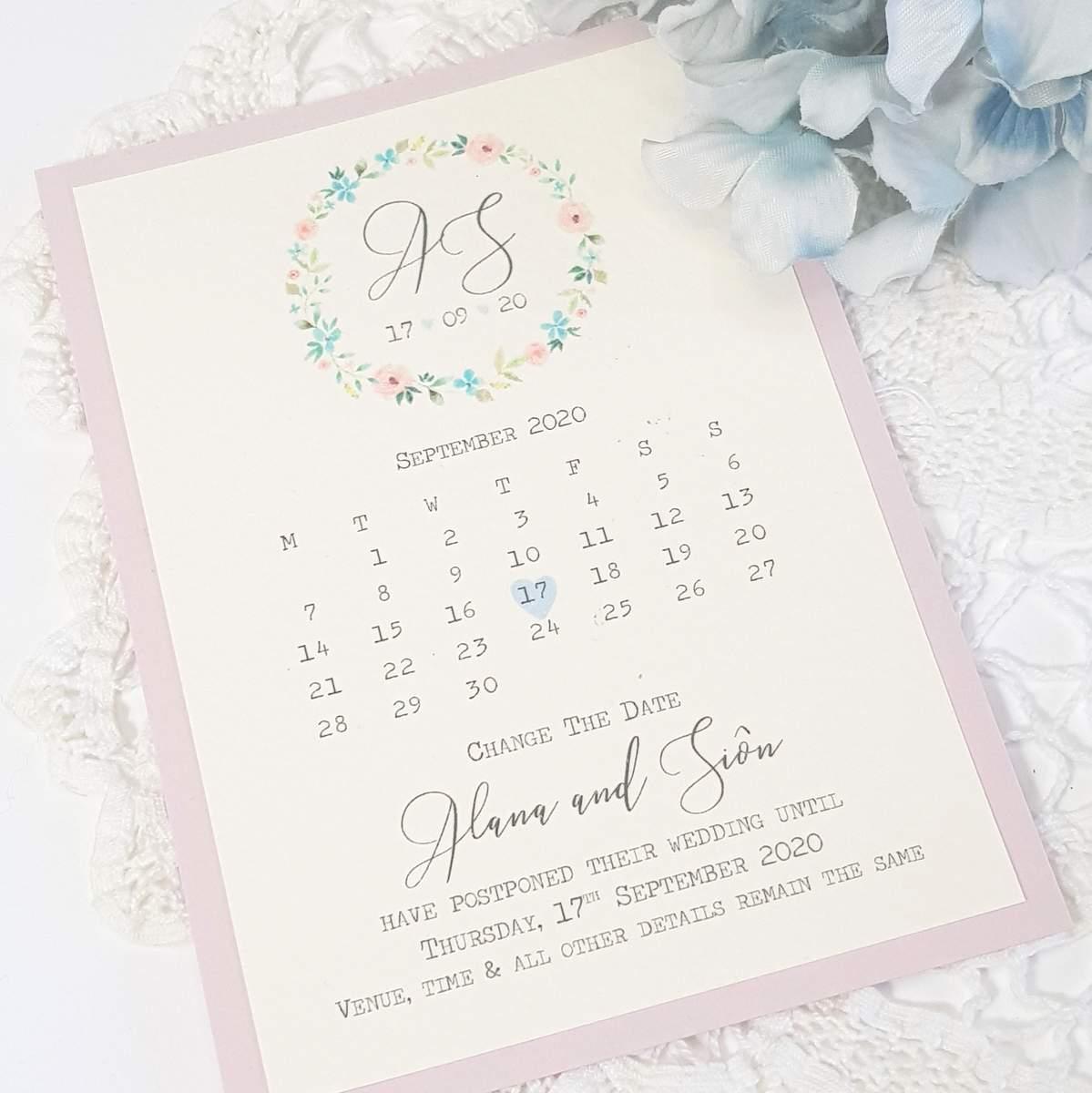 pretty pastel floral hoop change of date card