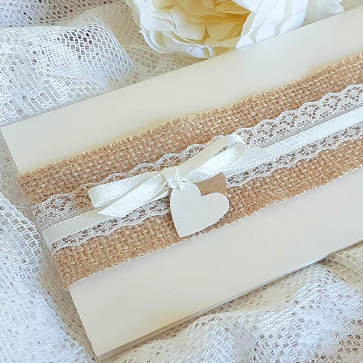 rustic wedding invitation with hessian and lace
