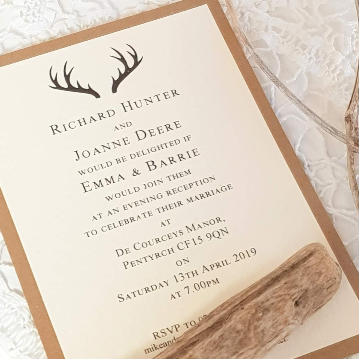 stag wedding invites in ivory with a recycled kraft card backing