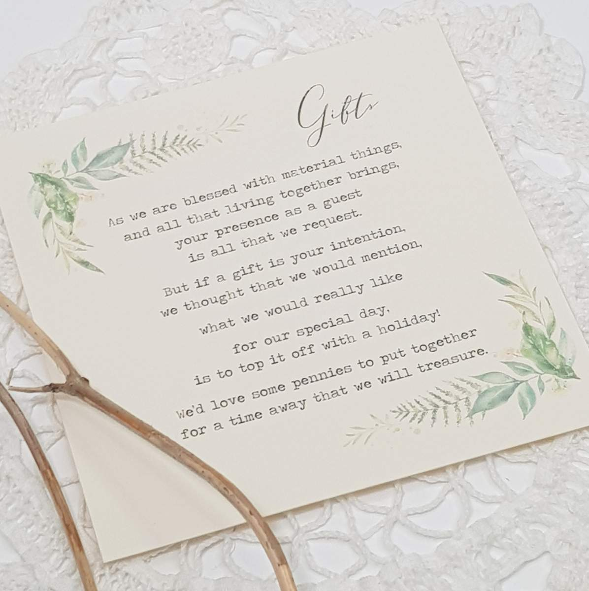 wedding gift wish card with a pretty greenery leaf design
