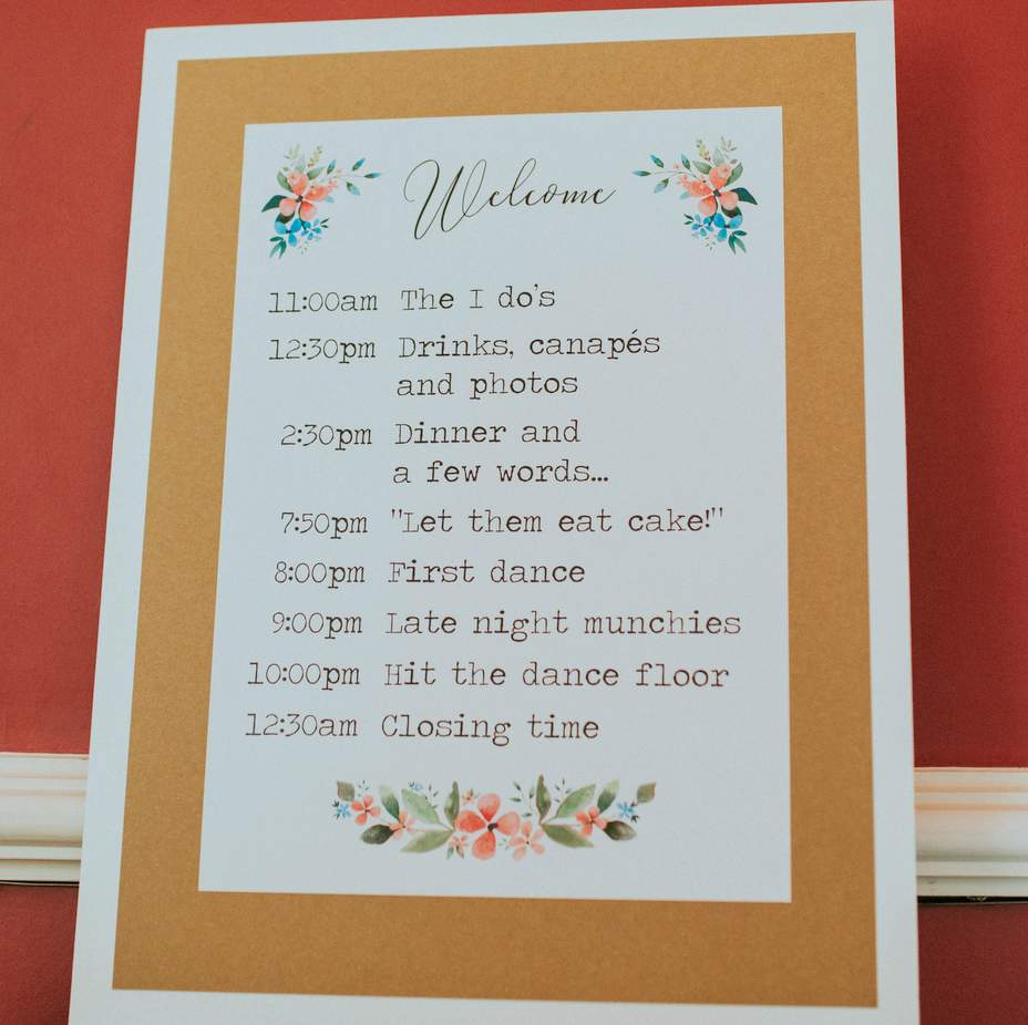 wedding order of the day board