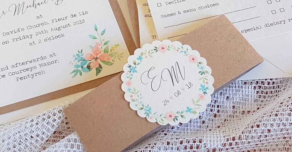 wildflower wedding invitations bellyband for a pocketfold