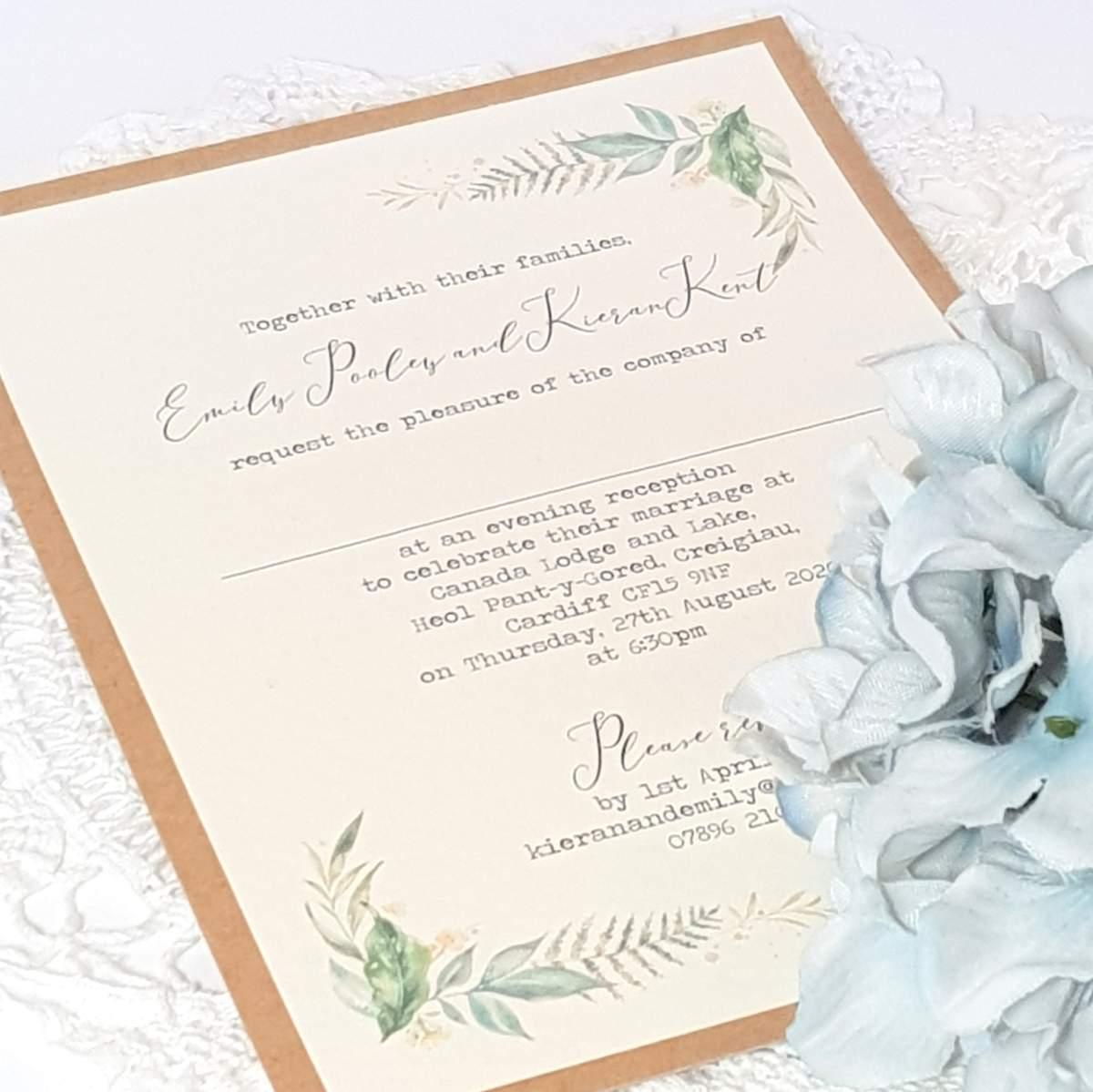 evening invitation with woodland foliage design