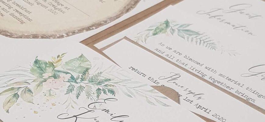 rustic woodland pocketfold eco wedding invite
