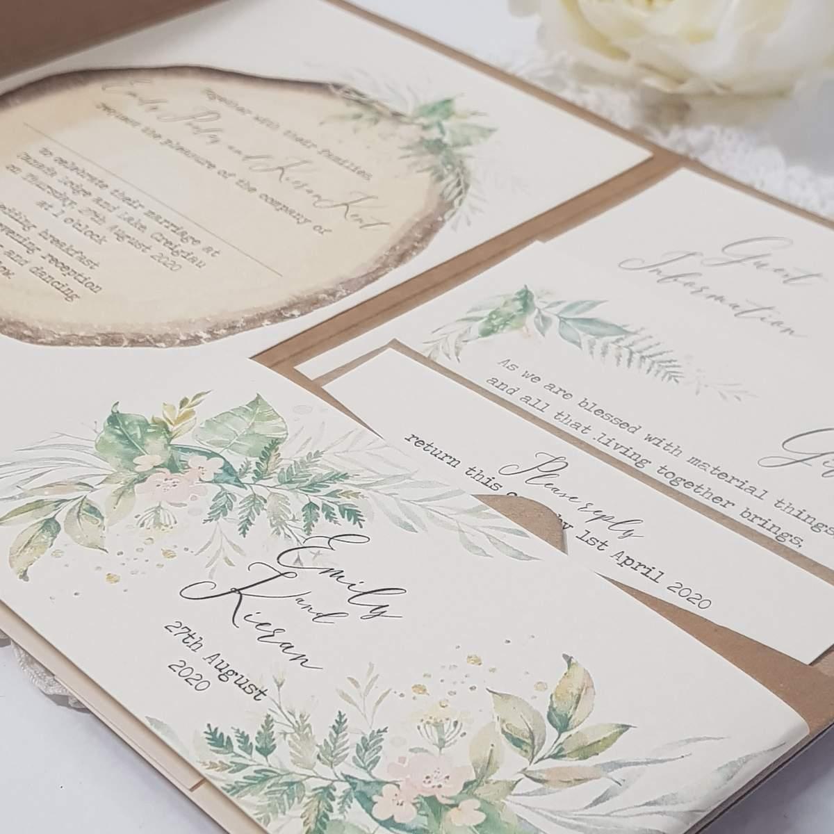 rustic woodland pocketfold wedding invite
