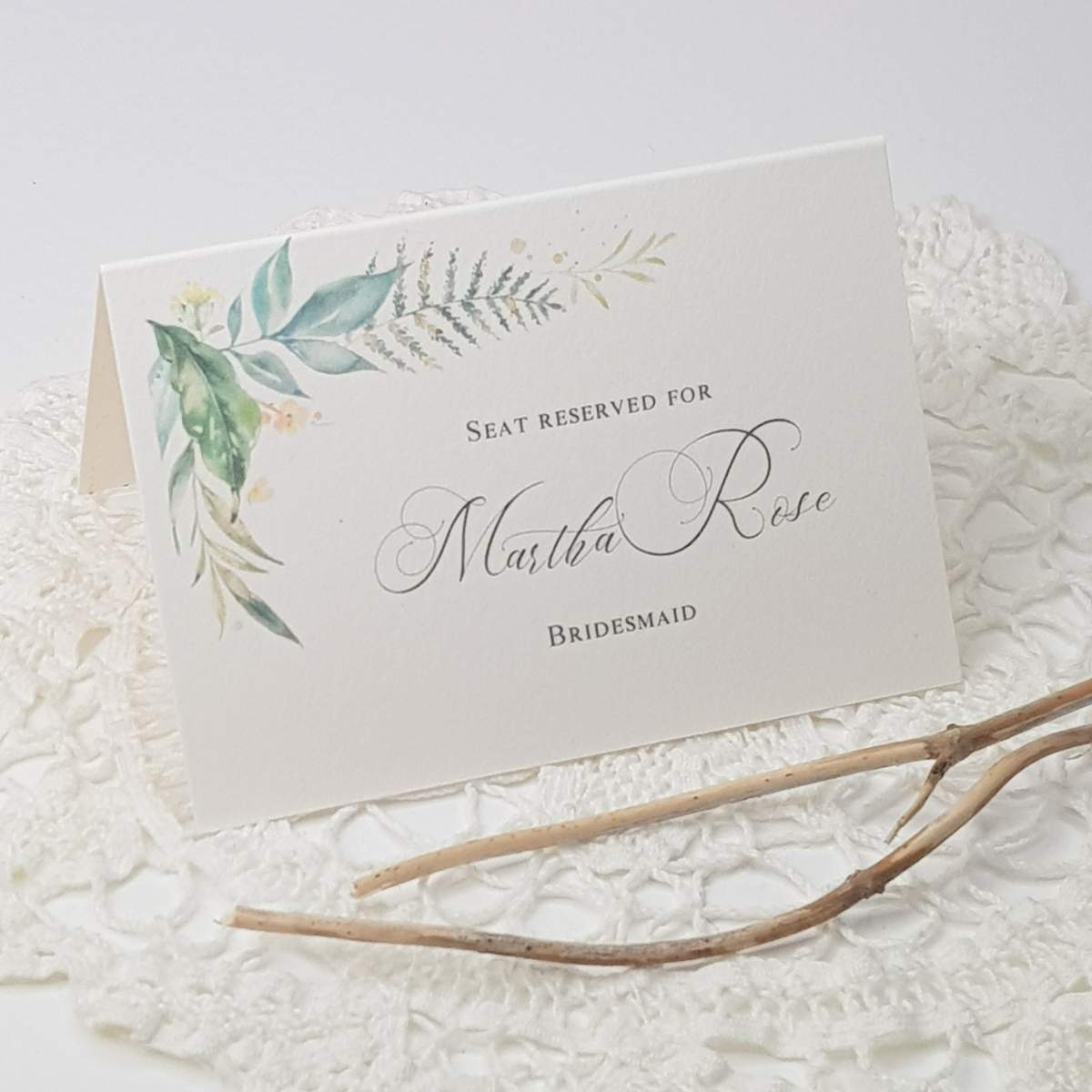 delicate woodland theme reserved seating card