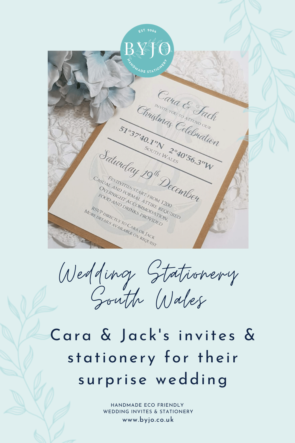invitations and stationery for a South Wales surprise wedding