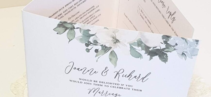 A green and white pocketfold invitation made from recycled card
