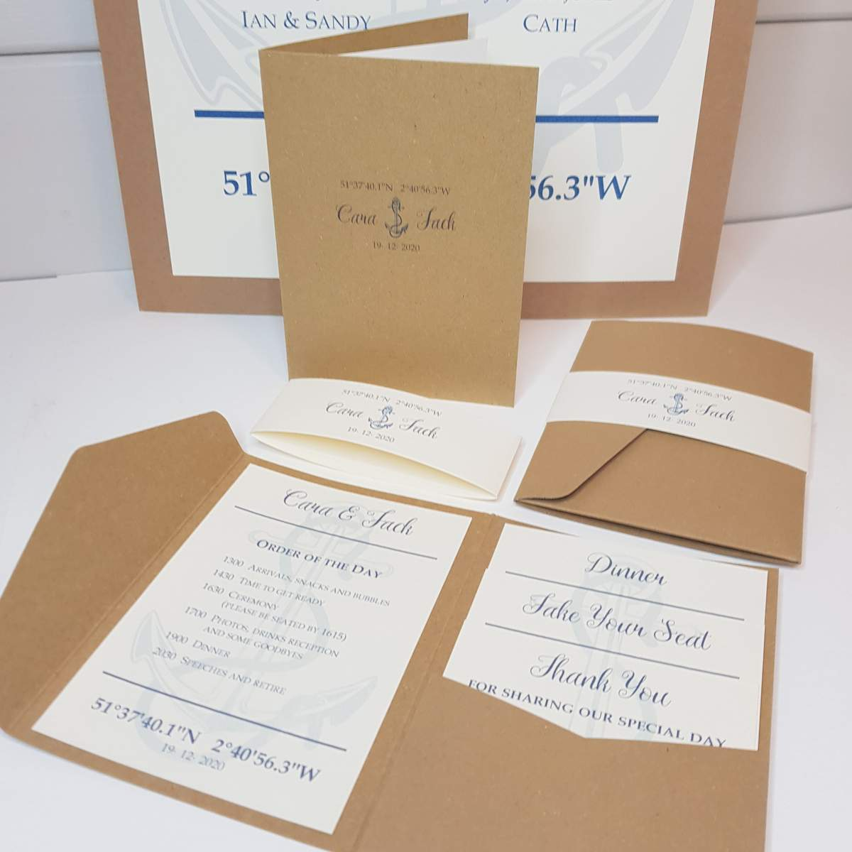 nautical theme wedding stationery with an anchor design made from recycled card