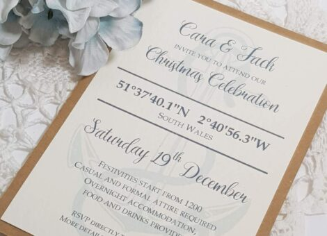 invitation for a surprise wedding in a nautical theme with an anchor design