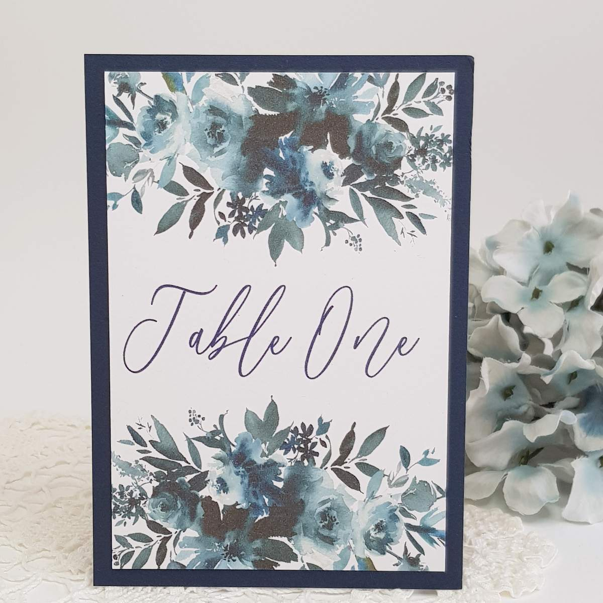 wedding table number with navy blue watercolour floral print