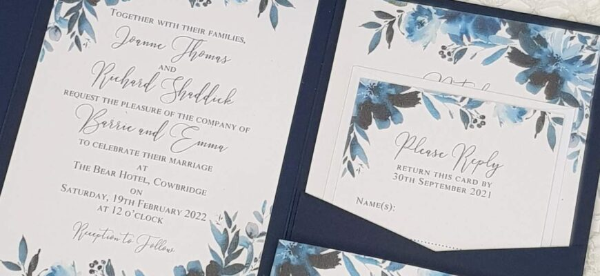navy wedding invitation with watercolour floral inserts