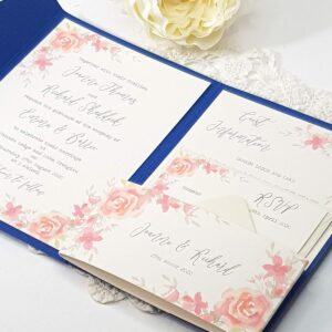 pretty floral wedding invitation with pink roses and a striking royal blue pocket fold