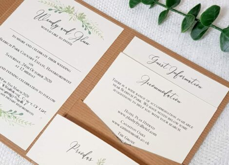 rustic recycled kraft card pocketfold invite with greenery design inserts