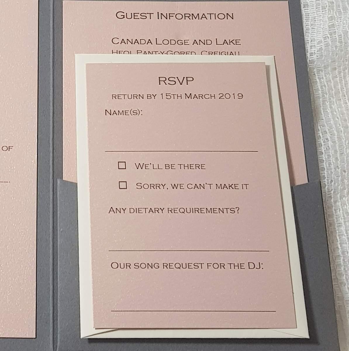 a blush pink rsvp card as part of a pocketfold wedding invitation