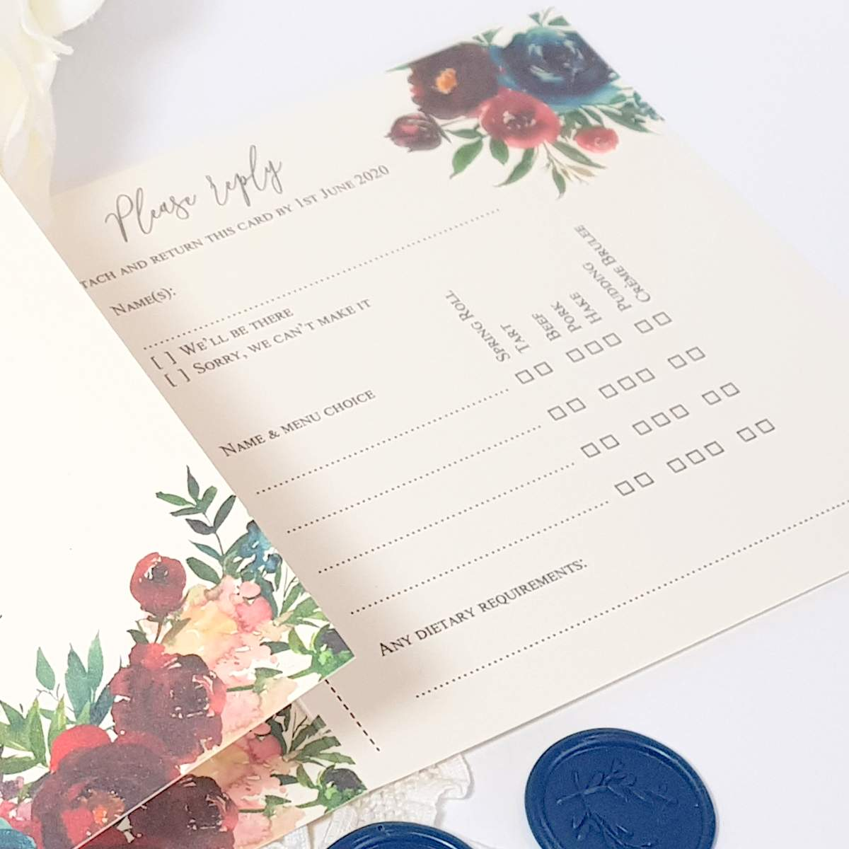 wedding reply card with menu choices