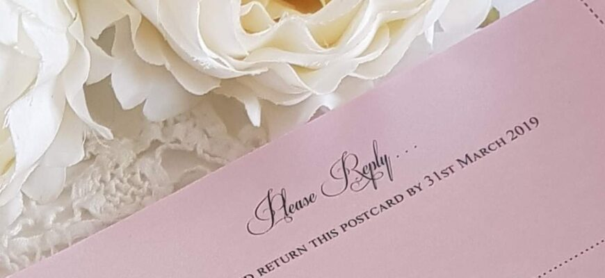 pink wedding reply card