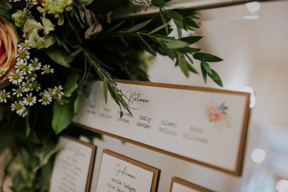 a wedding table plan mounted on a mirror with a corner embellishment of freah flowers