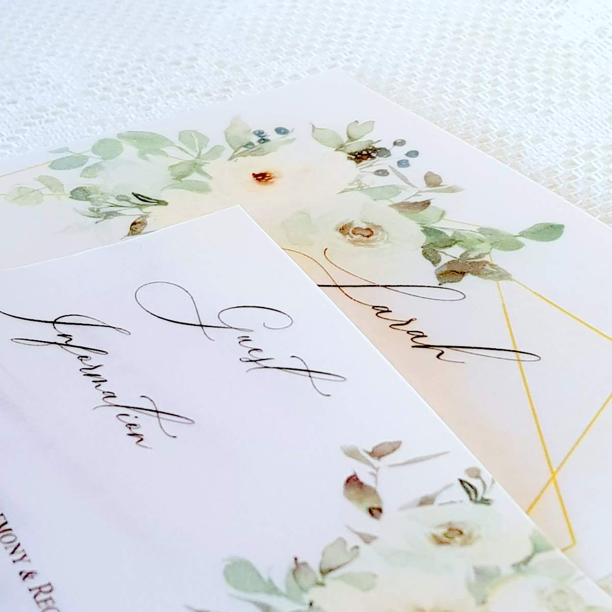 plastic free vellum wedding invitation
