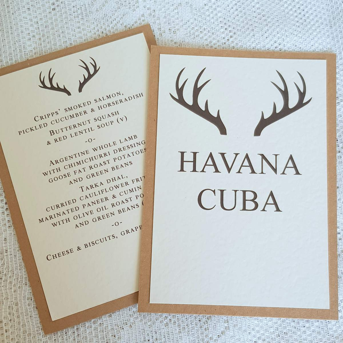 rustic wedding table names and menu with a striking stag antler design