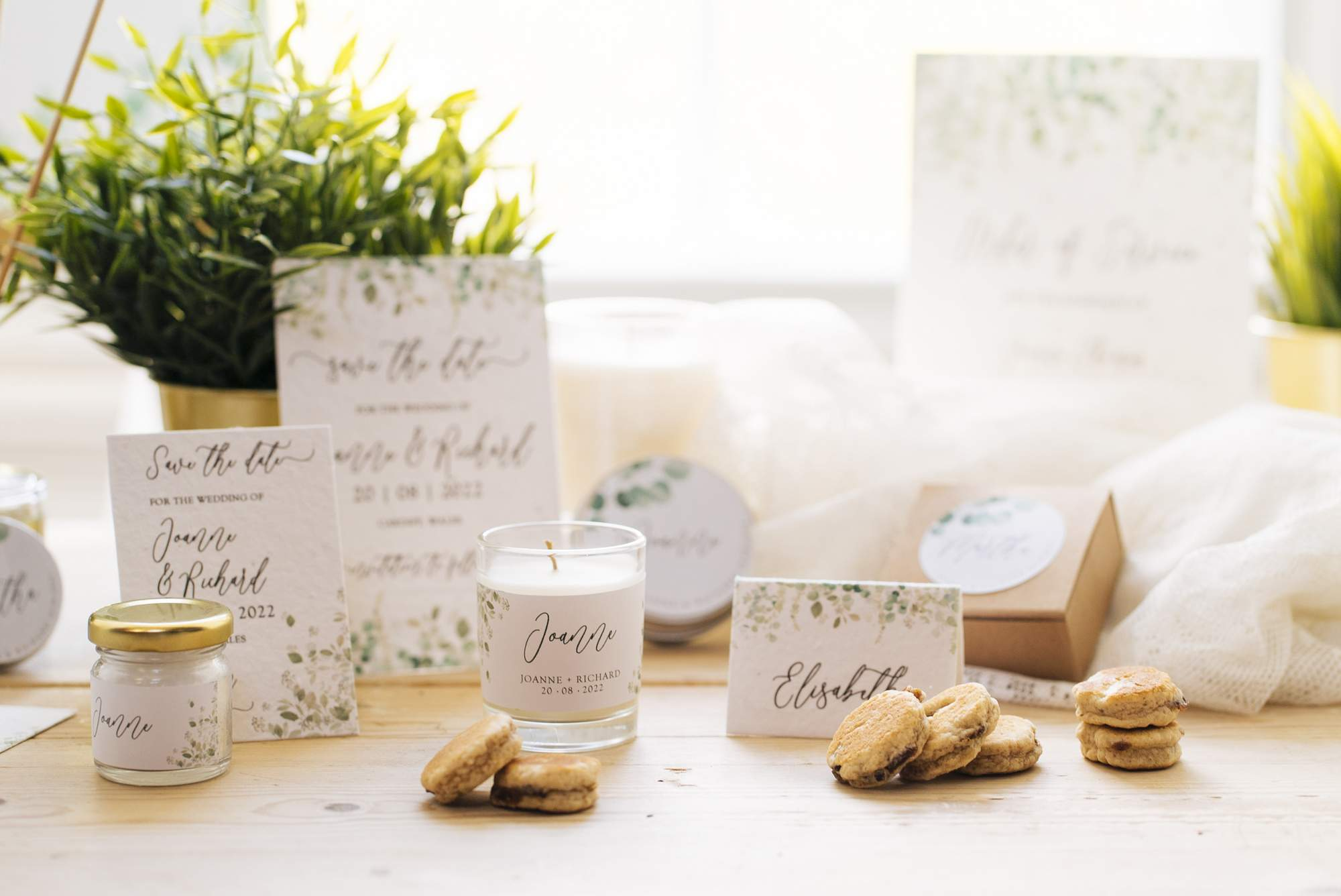 zero waste, eco friendly wedding stationery and favours with a greenery design