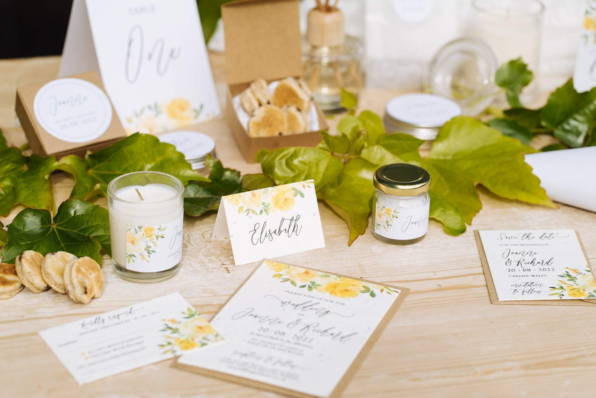 zero waste, eco friendly wedding stationery and favours with a yellow flowers design