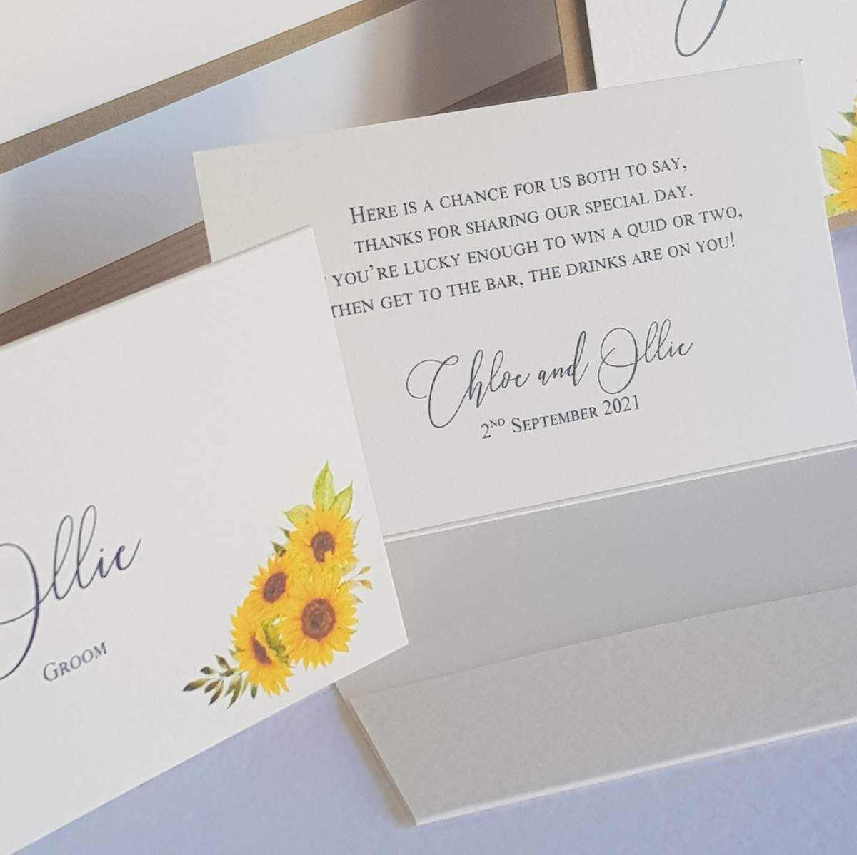 wedding lotto wallet place cards, a favour and place name setting all in one as a way to get closer to zero waste wedding stationery