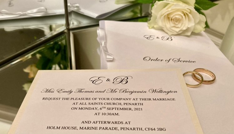 Elegant white wedding invitation text